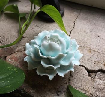 Flower Incense Holder | Large Celadon Peony | H20201378