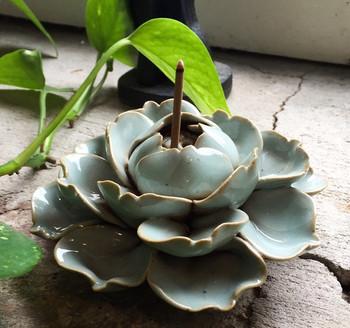 Flower Incense Holder   Large Celadon Lotus   H20201380