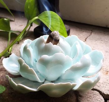 Flower Incense Holder   Large Blue Lotus   H20201382