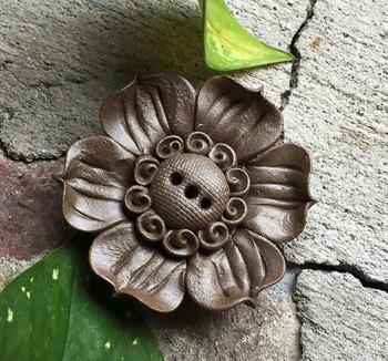 Flower Incense Holder   Dark Clay Lotus   H1964E