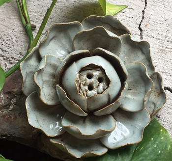 Flower Incense Holder   Large Celadon Lotus (Light)   H1964W