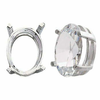 925 Sterling silver 6 x 4mm Oval Pre-Notched Legendary Setting, 4-Prong   697263