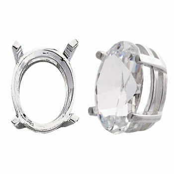 925 Sterling silver 12 x 10mm Oval Pre-Notched Legendary Setting, 4-Prong | 697267