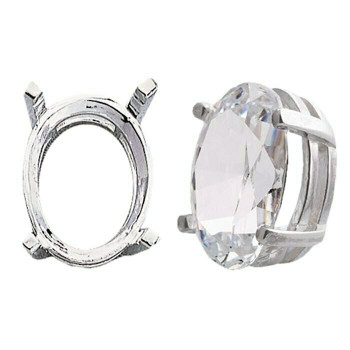 925 Sterling silver 16 x 12mm Oval Pre-Notched Legendary Setting, 4-Prong | 697269