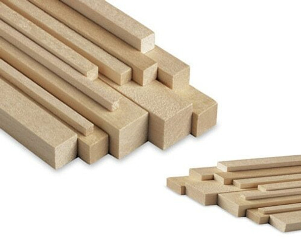 """Basswood stick, 1/8 x 1/8 x 48"""", Sold By Each 