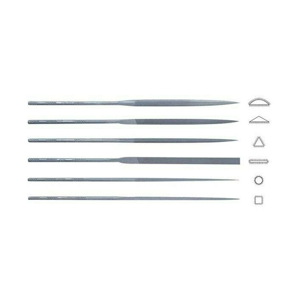 "Friedrich Dick 6-Piece 6-1/4"" Needle File Set, German Cut #3 