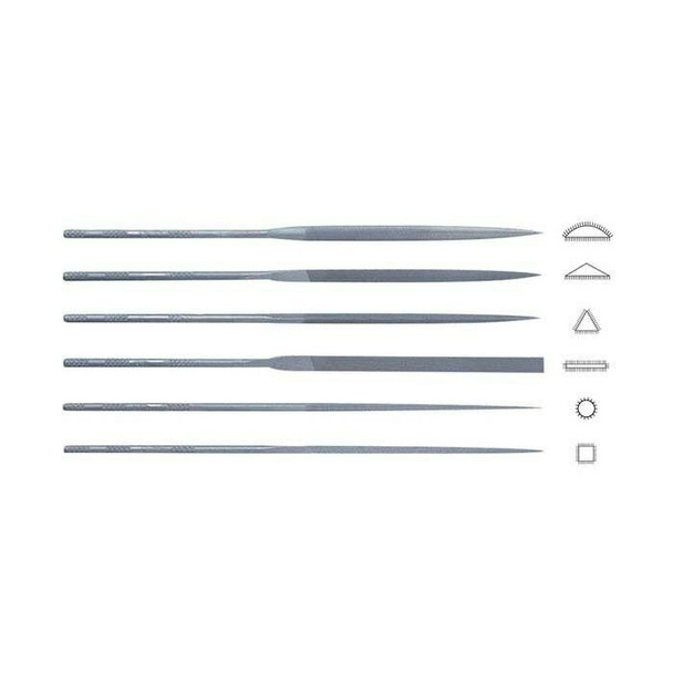"Friedrich Dick 6-Piece 6-1/4"" Needle File Set, German Cut #5 