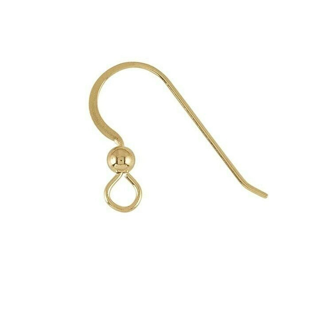 14K Yellow Gold Hammered Ear Wire with Loop and Bead | Sold by pair | 640359