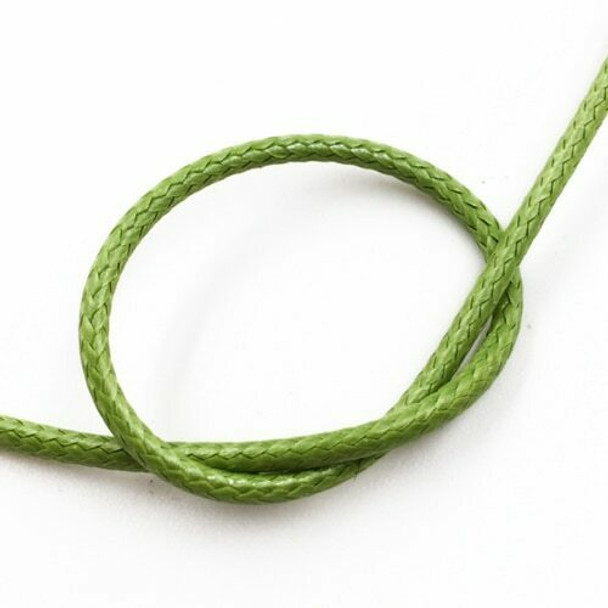 Glossy Braided Cord | 2 mm dia. | Olive Green | Sold by Metre | CYM87
