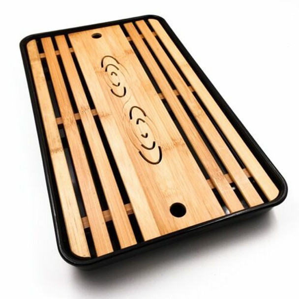 Bamboo Tray with Plastic Base | Black, 26cm x 43cm | QHS15