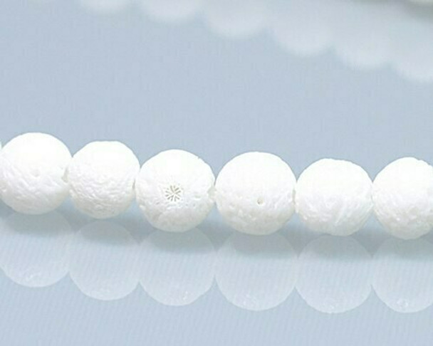 "Round White Sponge Coral Beads 6.5mm | Sold By  1 Strand(7.5"") 