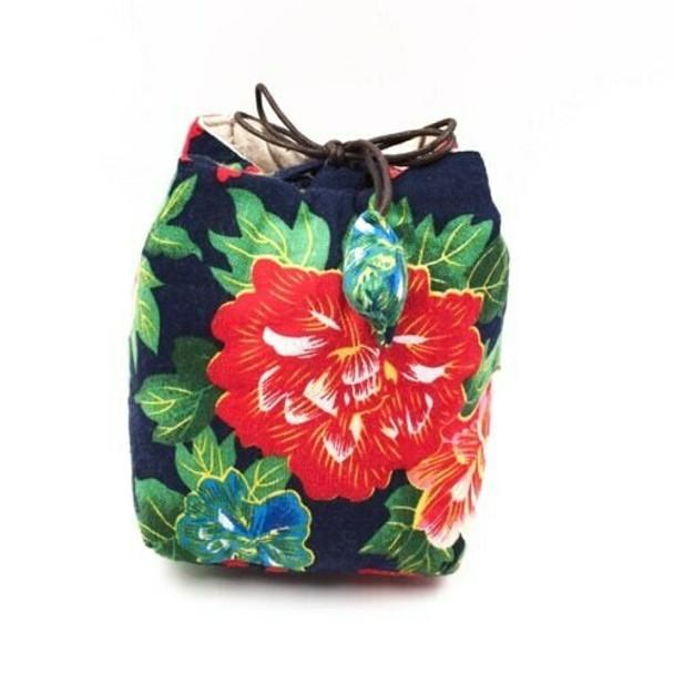 Floral Peacock Tea Ware Bag   Navy   TF17
