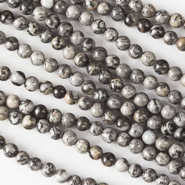 """Silver Crazy Lace Agate 8mm Round Beads   Sold by 7.5"""" Strand   BS0165"""