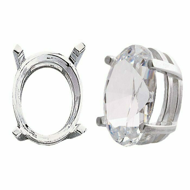 925 Sterling silver 6 x 4mm Oval Pre-Notched Legendary Setting, 4-Prong | 697263