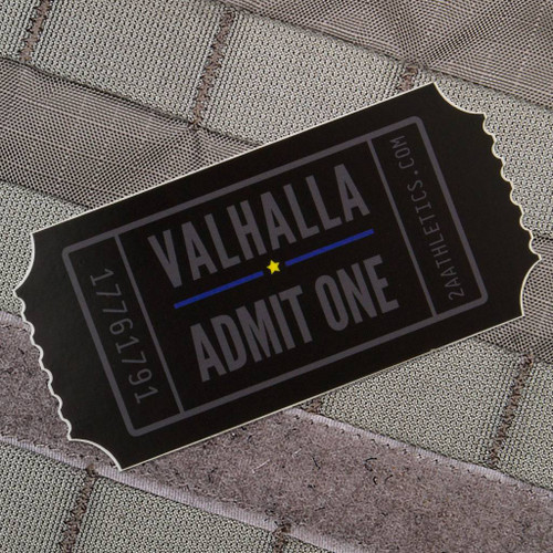 "Valhalla Admit One Sticker 4"" x 2"""