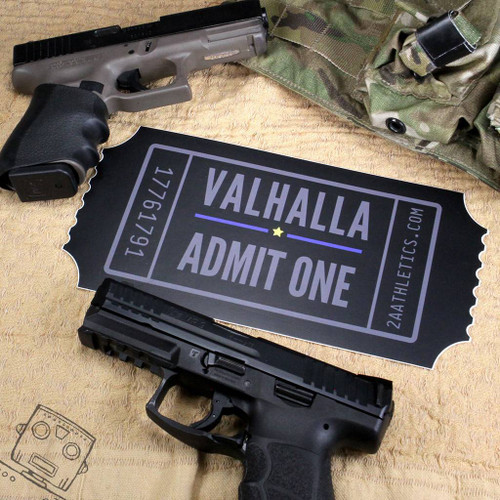 "Valhalla Admit One Sticker 10"" x 5"""