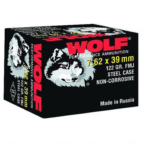 Wolf Performance 7.62x39 Ammunition 122 Grain Bi-Metal FMJ Steel Case - 20rds