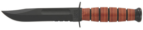 "Ka-Bar 1252 USMC Short 5.25"" Clip Point Part Serrated 1095 Cro-Van Leather Handle Fixed"