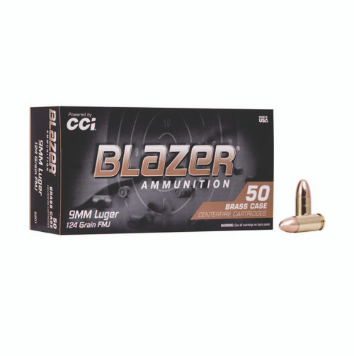 CCI 5201 Blazer Brass 9mm Luger 124 gr Full Metal Jacket (FMJ) 50rds