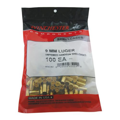 New Unprimed - Winchester Ammo WSC9U 9mm Luger Handgun Brass 100 casings