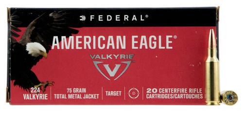 Federal AE224VLK1 American Eagle 224 Valkyrie 75 gr Total Metal Jacket (TMJ) 20rds