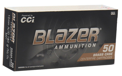 CCI 5221 Blazer Brass 10mm Auto 180 gr Full Metal Jacket (FMJ) - 50rds