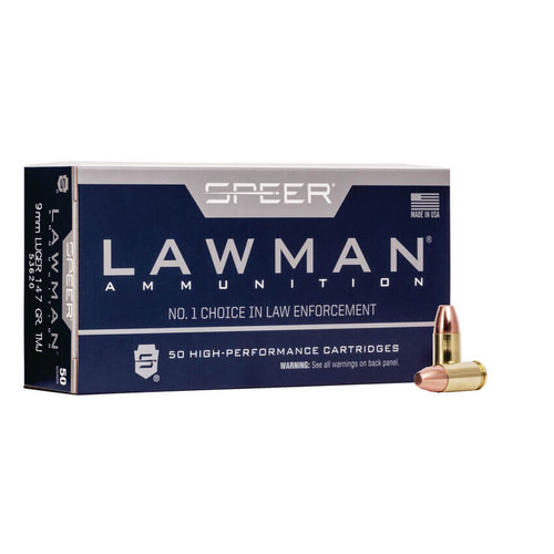 Speer Ammo 53620 Lawman 9mm Luger 147 gr Total Metal Jacket (TMJ) 50RDs