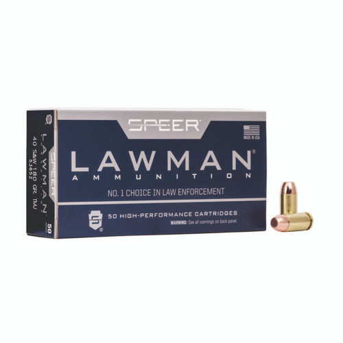Speer Ammo 53652 Lawman 40 S&W 180 gr Total Metal Jacket (TMJ) 50rds