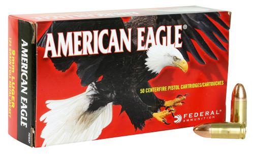 Federal AE9AP American Eagle 9mm Luger 124 gr Full Metal Jacket (FMJ) 50rds