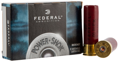 "Federal F1274B Power-Shok 12 Gauge 2.75"" 27 Pellets 4 Buck Shot 5rds"