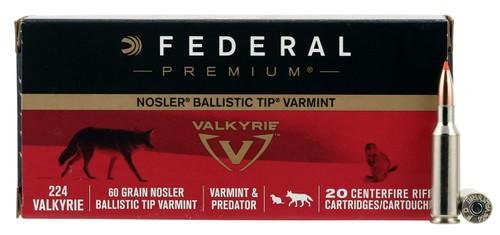 Federal P224VLKBT1 Premium V- Shok 224 Valkyrie 60 gr Nosler Ballistic Tip (NBT) 20rds