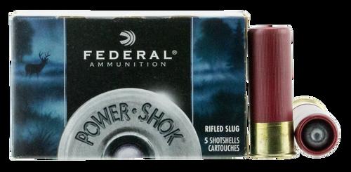 "Federal F130RS Power-Shok 12 Gauge 2.75"" 1 1/4 oz Rifled Slug Shot 5rds"