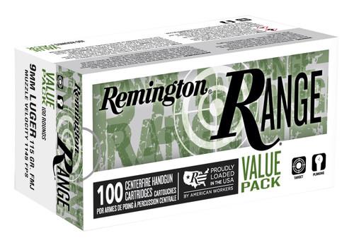 Remington Ammunition 23972 Range 9mm Luger 115 gr Full Metal Jacket (FMJ) 100rds