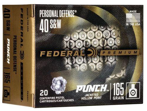 Federal PD40P1 Personal Defense Punch 40 S&W 165 gr Jacketed Hollow Point (JHP) 20rds