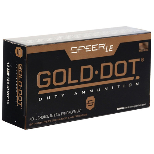 Speer Gold Dot 53962 LE Duty 40 S&W Ammo 180gr Jacketed Hollow Point 50RDS