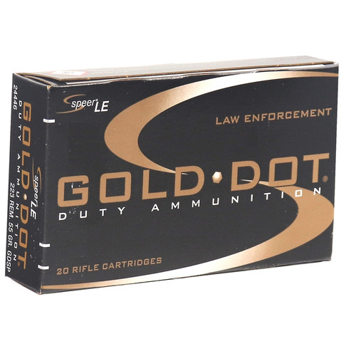 Speer Gold Dot 24446 LE Duty 223 Remington Ammo 55 Grain Soft Point - 20rds