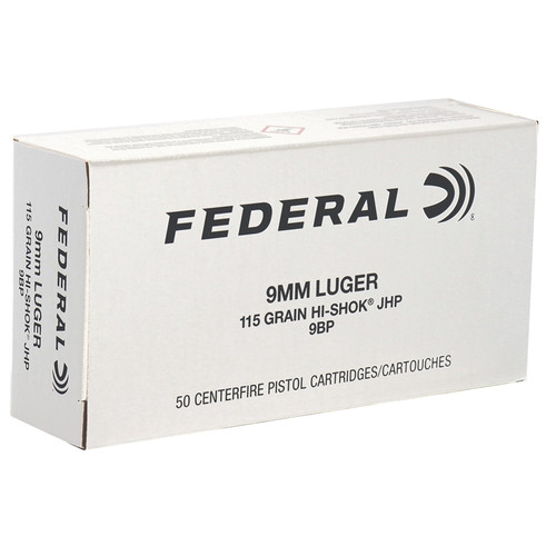 Federal Classic 9mm Luger Ammo 115 Grain Hi-Shok Jacketed Hollow Point - 50rds