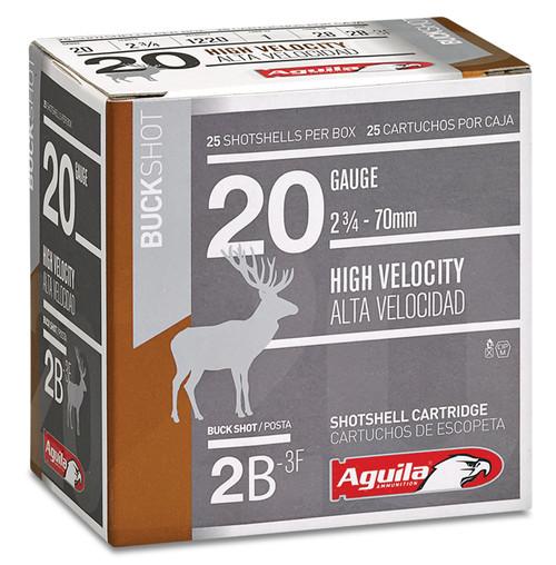 "Aguila 1C2002BA Field 20 Gauge 2.75"" 1 oz 2 Buck Shot 25rds"