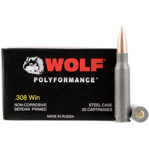 Wolf Polyformance .308 Win Ammunition 150 Grain Bi-Metal FMJ Steel Case - 20RDS - NO LIMIT FAST SHIPPING!