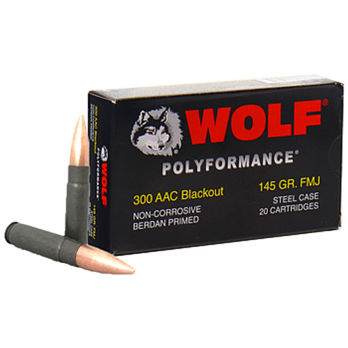 Wolf Polyformance Ammo 300 AAC Blackout 145gr FMJ - 20RDS - NO LIMIT FAST SHIPPING!