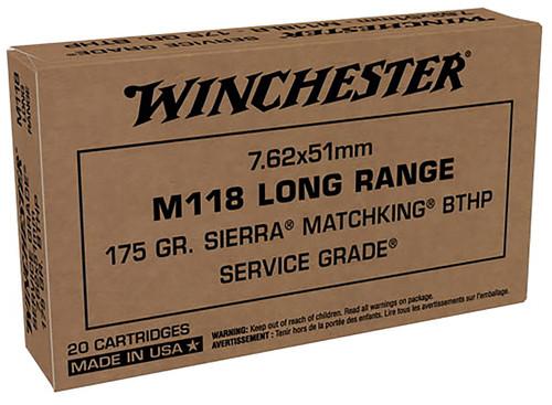 Winchester Ammo SGM118LRW Sierra 7.62x51mm NATO 175 gr Sierra MatchKing Hollow Point Boat-Tail 20rds