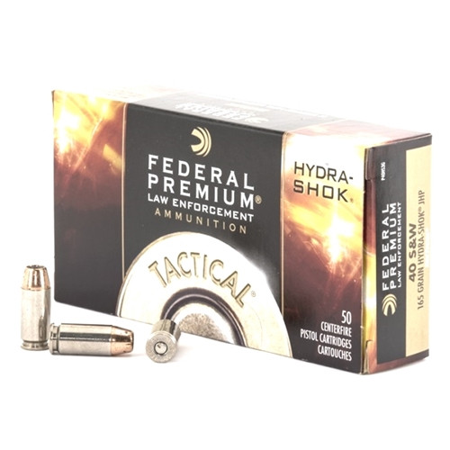 Federal Law Enforcement P40HS3G 40 S&W Ammo 165 Grain Hydra-Shok Jacketed Hollow Point - 50rds