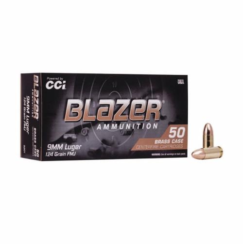 Full Case - CCI 5201 Blazer Brass 9mm Luger 124 gr Full Metal Jacket (FMJ) 1000rds
