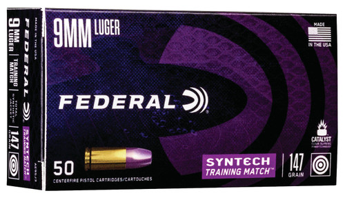Federal AE9SJ3 American Eagle Training Match 9mm Luger 147 gr Total Syntech Jacket Flat Nose (TSJFN) 50rds