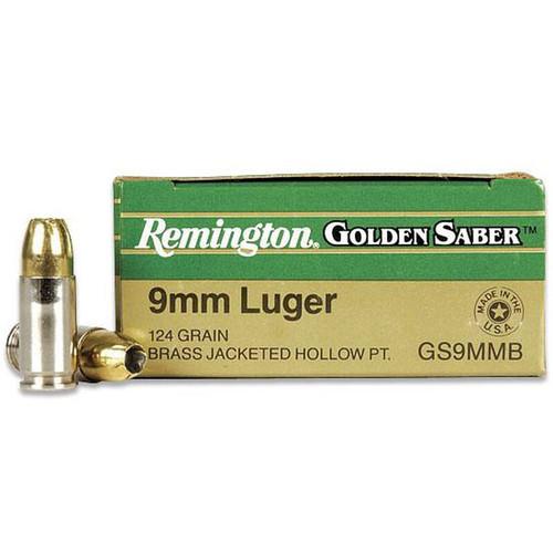 Remington Golden Saber GS9MMB 9mm Luger Brass JHP 124gr Defensive Ammunition - 25rds