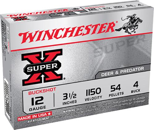 """Winchester Ammo XB12L4 Super X 12 Gauge 3.5"""" 54 Pellets 4 Buck Shot 5rds"""