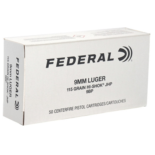 HALF CASE - Federal Classic 9mm Luger Ammo 115 Grain Hi-Shok Jacketed Hollow Point - 500rds