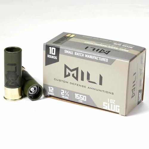 "FULL CASE - MILI AMMUNITIONS M12-RIF-SLUG 12 ga Rifled Slug 12 Gauge 2.75"" 1 oz Rifled Slug Shot 150rds"