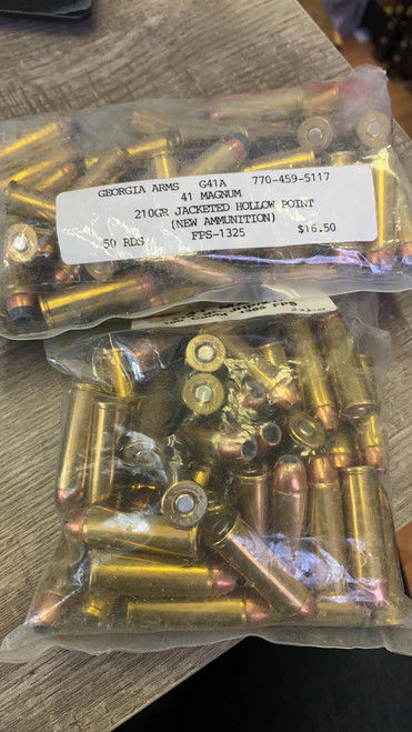 CLEANING OUT MY INVENTORY BINS - ?RELOADED? - 98rds of hollow point brass casing 210gr .41 Rem Mag