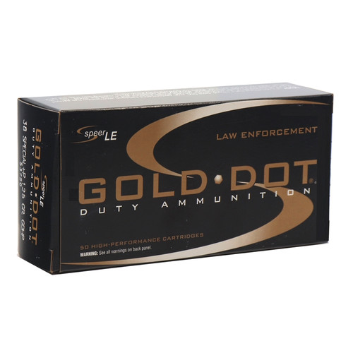 Speer Gold Dot LE Duty 38 Special Ammo 125 Grain +P Jacketed Hollow Point - 50rds